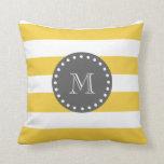 Rayas blancas amarillas modelo, monograma del carb almohadas