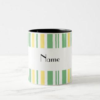 Rayas blancas amarillas verdes conocidas personali taza de café