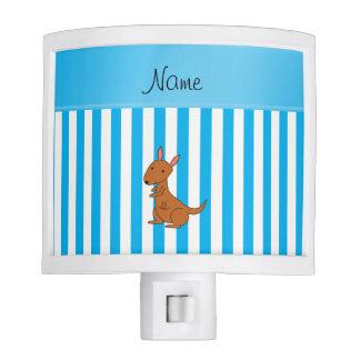 Rayas blancas azules personalizadas del canguro lámpara de noche