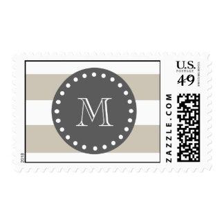 Rayas blancas beige modelo, monograma del carbón timbres postales