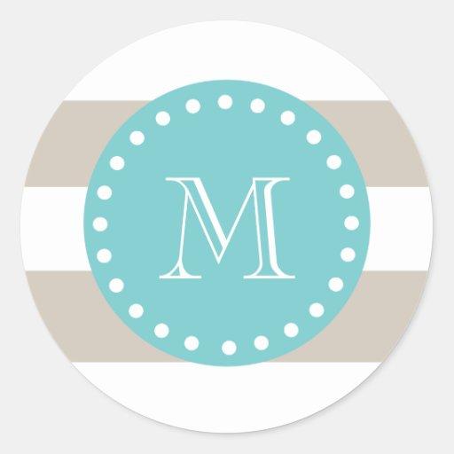 Rayas blancas beige modelo, monograma del trullo pegatina redonda