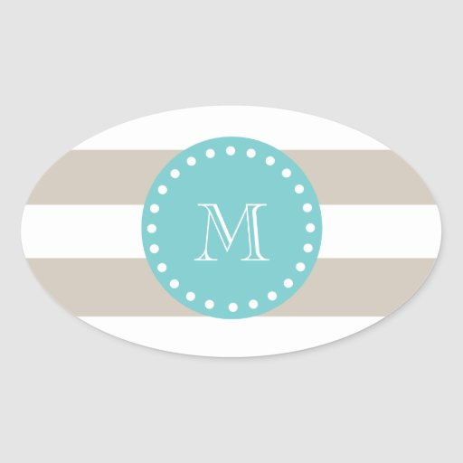 Rayas blancas beige modelo, monograma del trullo pegatina ovalada