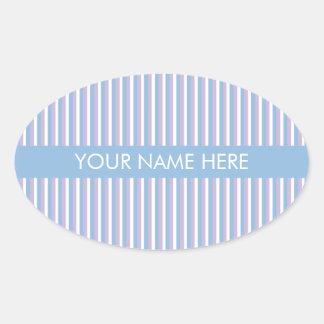Rayas blancas de la lila azul azules pegatina ovalada