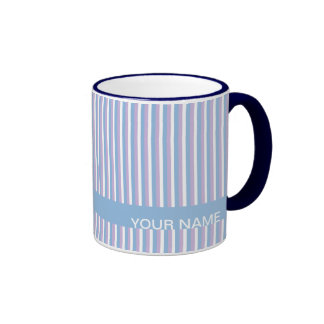 Rayas blancas de la lila azul azules taza de dos colores