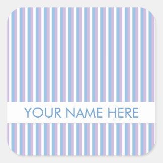 Rayas blancas de la lila azul blancas pegatina cuadrada