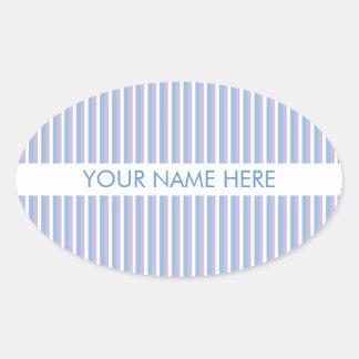 Rayas blancas de la lila azul blancas pegatina ovalada
