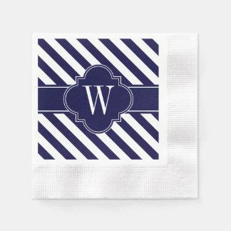 Rayas blancas de los azules marinos, monograma de servilleta desechable