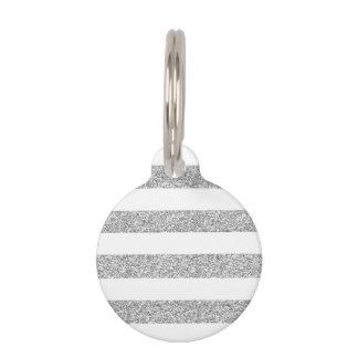Rayas blancas del encanto con el brillo de plata placas de mascota