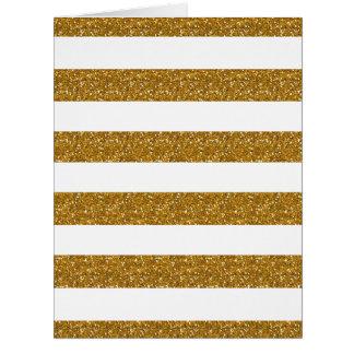 Rayas blancas del encanto con el brillo del oro tarjeta de felicitación grande