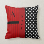 Rayas blancas del rojo de los lunares del negro co almohada