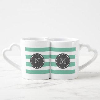 Rayas blancas modelo, carbón de leña Monogra de la Set De Tazas De Café