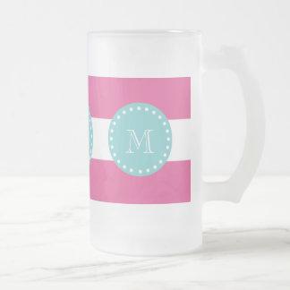 Rayas blancas modelo, monograma de las rosas fuert tazas de café