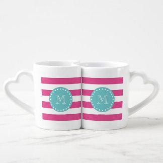 Rayas blancas modelo, monograma de las rosas set de tazas de café