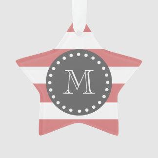 Rayas blancas modelo, monograma del melocotón del