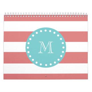Rayas blancas modelo monograma del melocotón del calendario