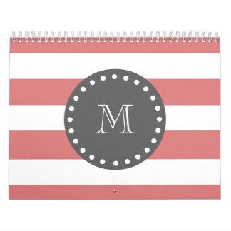 Rayas blancas modelo, monograma del melocotón del  calendario de pared