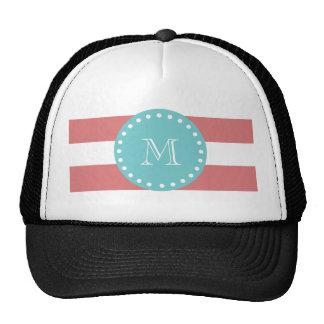 Rayas blancas modelo, monograma del melocotón del  gorras