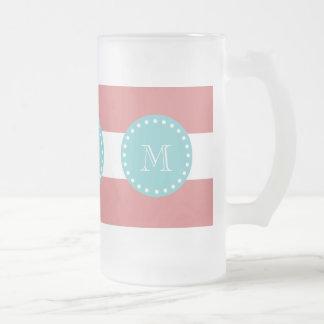 Rayas blancas modelo, monograma del melocotón del  tazas de café