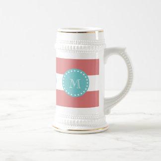 Rayas blancas modelo, monograma del melocotón del  taza