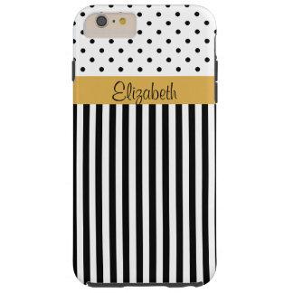 Rayas blancas negras ColorBlock de los lunares del Funda De iPhone 6 Plus Tough