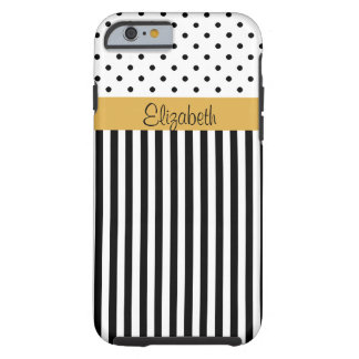 Rayas blancas negras ColorBlock de los lunares del Funda Para iPhone 6 Tough