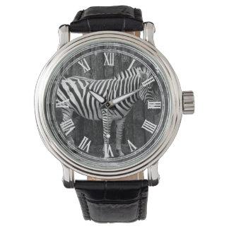 Rayas blancas negras de la cebra relojes de mano