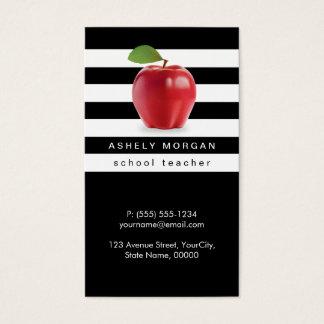 Rayas blancas negras elegantes de Apple del Tarjetas De Visita