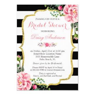 """Rayas blancas negras florales de la ducha del rosa invitación 5"""" x 7"""""""