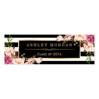 Rayas blancas negras florales de la tarjeta del tarjetas de visita mini