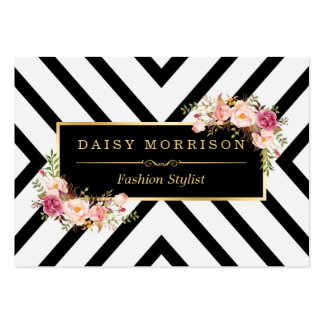 Rayas blancas negras florales del vintage con tarjetas de visita grandes