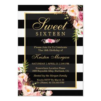 """Rayas blancas negras florales hermosas del dulce invitación 5"""" x 7"""""""