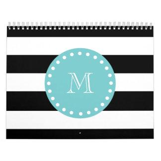 Rayas blancas negras modelo monograma del trullo calendario