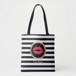 Rayas blancas negras modernas de los labios rojos bolsa de tela