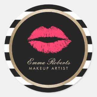 Rayas blancas negras modernas de los labios rojos pegatina redonda
