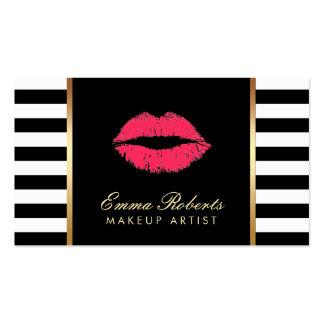 Rayas blancas negras modernas de los labios rojos tarjetas de visita