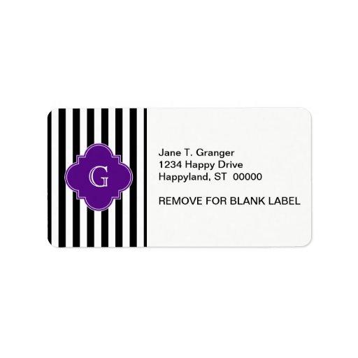 Rayas blancas negras, monograma púrpura de la etiq etiqueta de dirección
