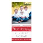 Rayas blancas rojas de las Felices Navidad Tarjeta Fotográfica