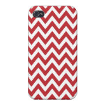 Rayas blancas rojas del zigzag de Chevron iPhone 4/4S Carcasa