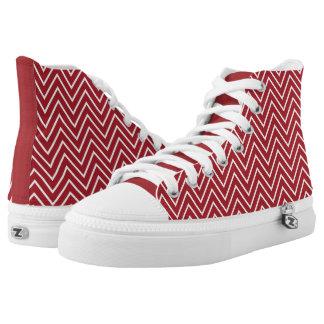 Rayas blancas rojas del zigzag de Chevron Zapatillas