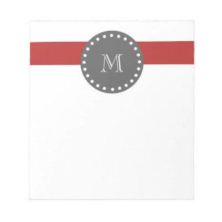 Rayas blancas rojas modelo, monograma del carbón d blocs de notas