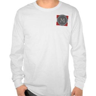 Rayas blancas rojas modelo monograma del carbón d