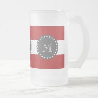 Rayas blancas rojas modelo, monograma del carbón d taza de café