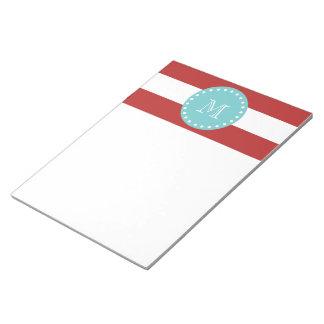 Rayas blancas rojas modelo, monograma del trullo bloc de notas
