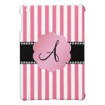 Rayas blancas rosadas del monograma iPad mini fundas