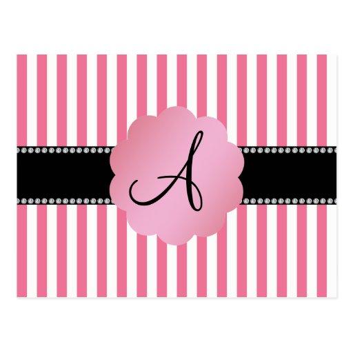 Rayas blancas rosadas del monograma postal