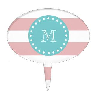 Rayas blancas rosadas modelo, monograma del trullo decoración para tarta