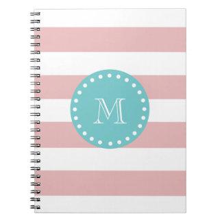 Rayas blancas rosadas modelo, monograma del trullo libreta espiral