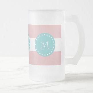 Rayas blancas rosadas modelo, monograma del trullo taza