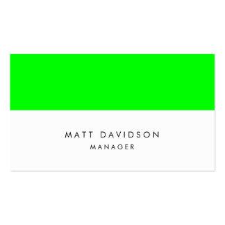 Rayas blancas verdes llanas elegantes tarjetas de visita
