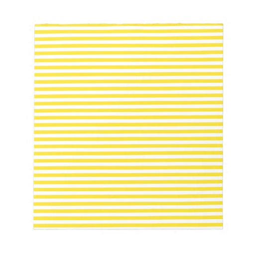 Rayas - blancas y amarillo de oro blocs de papel